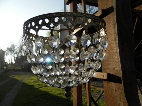 Vintage French Crystal Chandelier Ceiling by AngelFrenchAntiques
