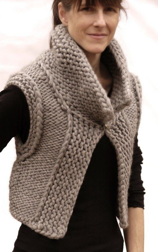bolero knitted in chunky wool. Nice! (No pattern)