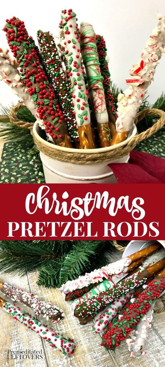 "Christmas Dessert Recipes: Festive Holiday Pretzel Sticks perfect for a little something different on your cookie platters, or as a ""bouquet"" in a coffee mug for a teacher, friends, and neighbors.  All you need to create them are some pretzel rods, almond bark, and festive sprinkles. This is a great Christmas recipe to make with the kids as there is"