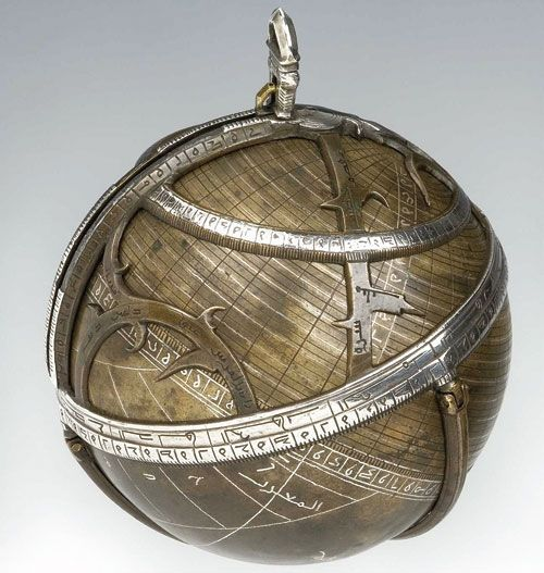 Spherical astrolabe (15th C.). One point which distinguishes Star Map from the astrolabe is that in both cases, astrolabes were not meant for direct viewing. In other words, one could not do real time work. It would require measurement, enscribing, and a duration of labor, etc.  Worth mentioning, the spherical astrolabe did not have a viewing instrument, like the planispheric versions did. This made the planispheric require less work and fewer hours of it in order to chart information.