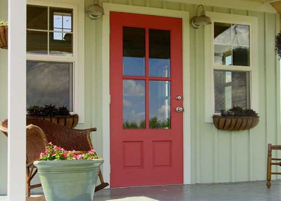 Exterior wood door decorating with paint to personalize house design and feng shui homes paint - Red exterior wood paint plan ...