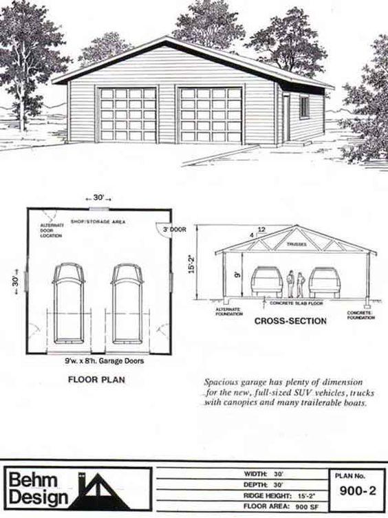 Oversized 2 Car Garage Plan 900 2 30 39 X 30 39 By Behm Design