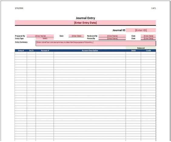 Journal Entry Template Accounting Tools Pinterest Journal - accounting ledgers templates