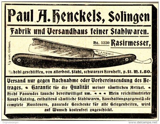 Original-Werbung/ Anzeige 1898 - RASIRMESSER ( RASIERMESSER) /  HENCKELS…
