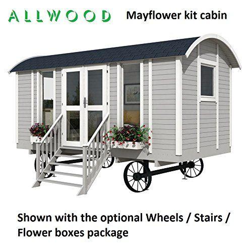 Amazon Com Allwood Mayflower 117 Sqf Garden House Kit Cabin Garden Outdoor Shepherds Hut House Cabin Kits