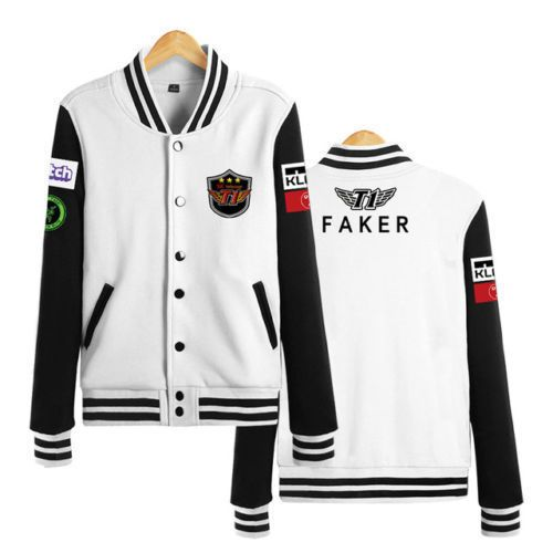 League Of Legends SKT T1 Faker LOL Game Team Zipper Hoodie Coat Cosplay costume