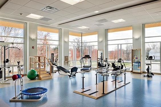 D Youville Center For Advanced Therapy Rehabilitation Gym Clinic Interior Design Hospital Design Chiropractic Office Design