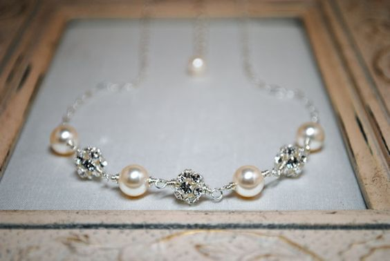 Bridal Necklace, Ivory Swarovski Pearl, Bridal Jewelry, Bridesmaids Jewelry, Wedding Necklace, Snow Crystals 65BGIV