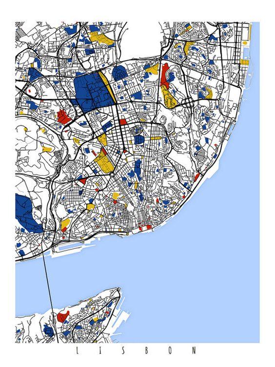 German Vintage Map Of Lisbon Portugal And Por Bananastrudel - Lisbon portugal neighborhoods map