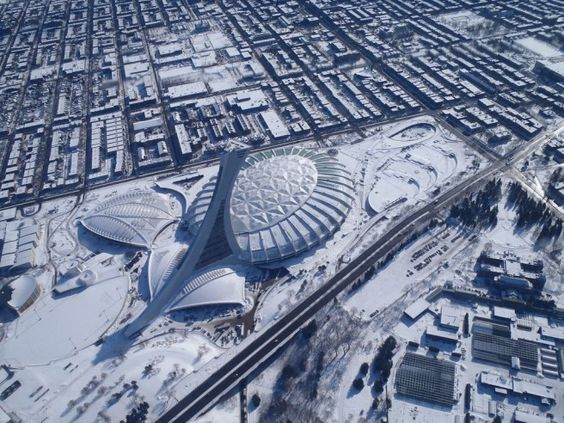 Le Stade Olympique de Montréal, vu du ciel. Via pataqueja2007 Flickr