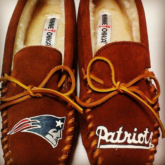 Custom Painted New England Patriots Minnetonka Slipper by FreeRangeMamaGifts on Etsy https://www.etsy.com/listing/205566347/custom-painted-new-england-patriots