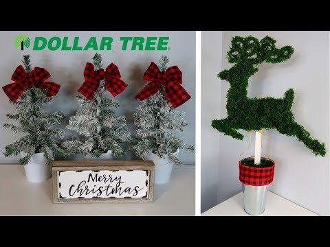 802 Dollar Tree Christmas Diys Rustic Flocked Trees Reindeer Topiary Youtube Dollar Tree Christmas Dollar Tree Christmas Decor Dollar Tree Diy Crafts