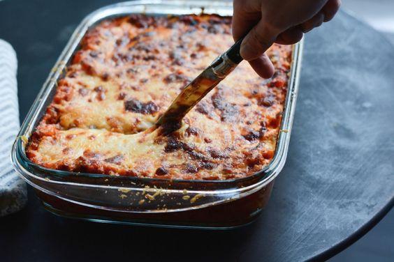 geschnittene-Lasagne mit Käse