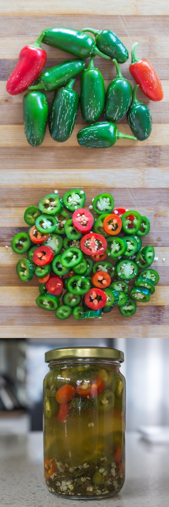 A quick & simple recipe for Mexican-style pickled jalapeños.