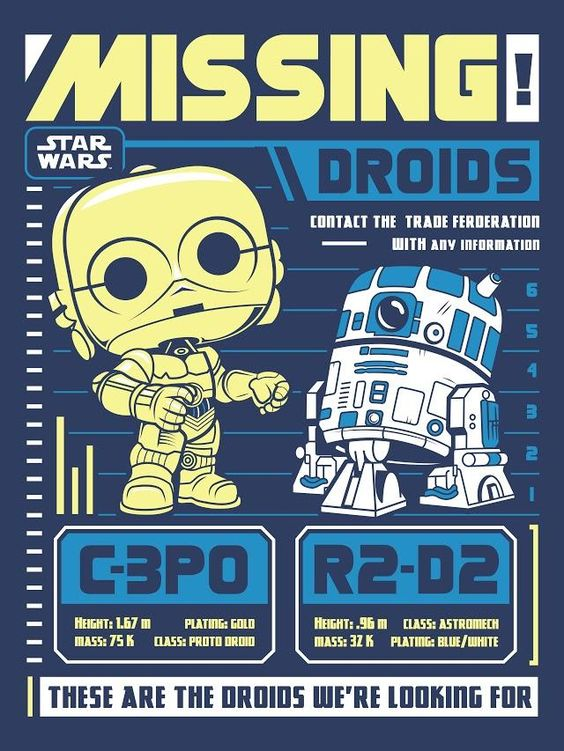 Star Wars C-3PO and R2-D2 Missing Droids Pop Tee by Funko at FYE