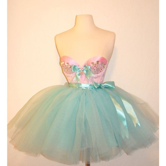 The French Sugar Dress 2 pc Bustier and Tutu Aqua and Pink Made to... ($240) ❤ liked on Polyvore