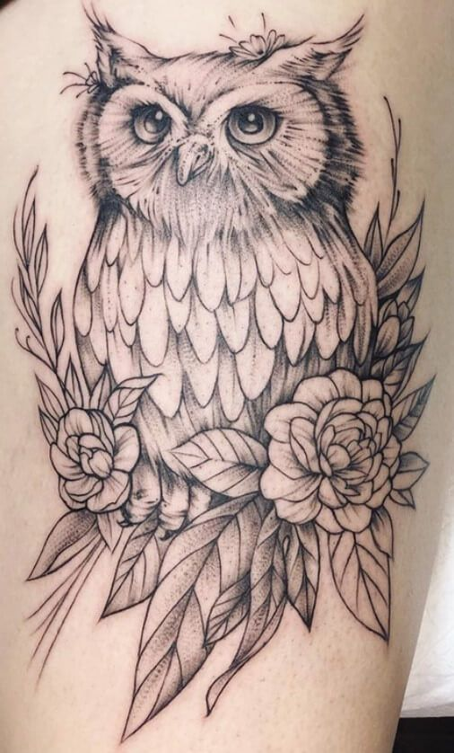 12 Best Owl Thigh Tattoo Designs Petpress In 2020 Owl Thigh Tattoos Thigh Tattoo Designs Animal Thigh Tattoo