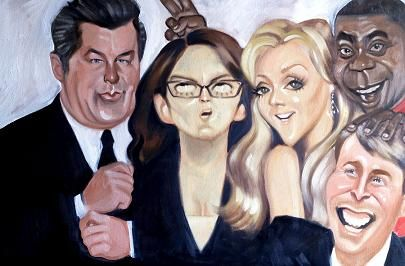 30 Rock (2006–2013) ~~ Comedy ~~ The head writer of a sketch comedy show must deal with an arrogant new boss & a crazy new star ~~ Artwork by Alison Cowles