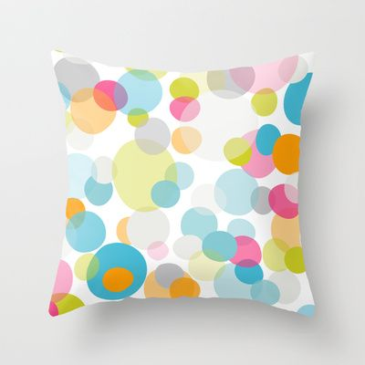Multi dots Throw Pillow/cushion cover by Cally Creates - in 3 sizes from $20 with Outdoor options available. Semi-transparent layers of happy bubble-like dots. (spots - dots - bubbles - float - space - air - gaseous - colourful - colorful - kids - fun - party - circles - energy - pastels - girls - playful - cute - ditzy - pattern - repeat). Available on other items (such as tote bag, clock, Giclée art print, iphone/ipod cases & skins, stationery cards, ipad cases & skins)