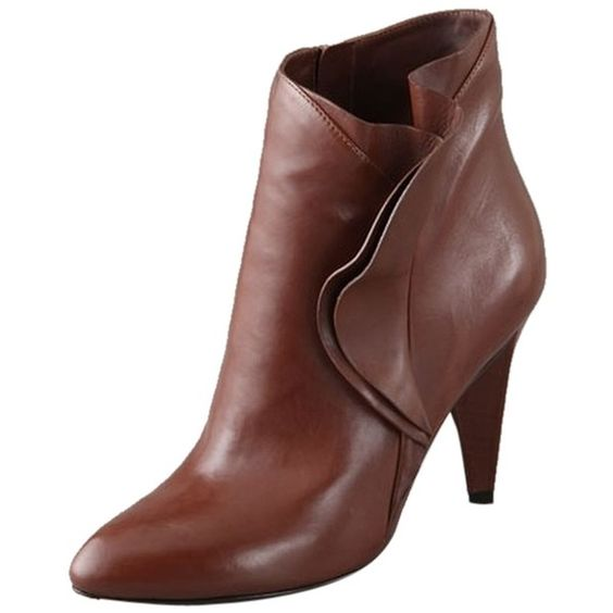 Pre-owned Marc By Marc Jacobs Ruffle Side Cognac Boots ($203) ❤ liked on Polyvore