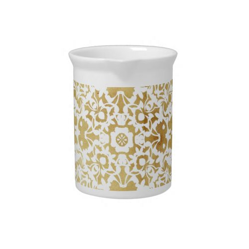 Such a pretty vintage inspired pattern in gold and white a luxury lace look. #wedding #new #home #gifts #presents #wedding #gift #ideas #new #home #gift #ideas #kitchenware #home #decor #kitchen #dining #vintage #gold #white #lace #lacy #pattern #patterned #luxury #vintage #inspired #modern #picture #image