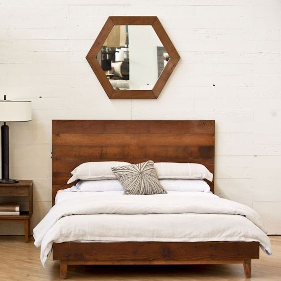 Beautiful Hexagons And Solid Wood Beds On Pinterest