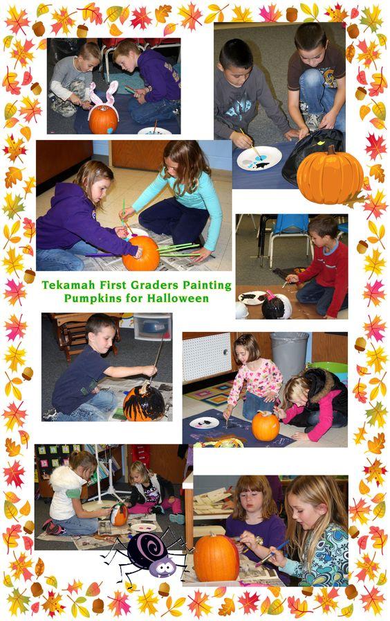 Tekamah First Graders helped celebrate Halloween by painting pumpkins. *Photos by Linda Petersen