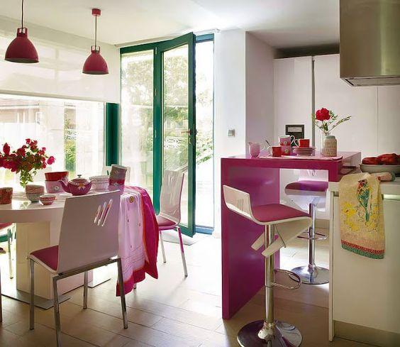 Decoración cocina en color rosa