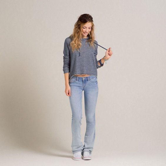 Hollister light wash bootcut jeans | Christmas list | Pinterest