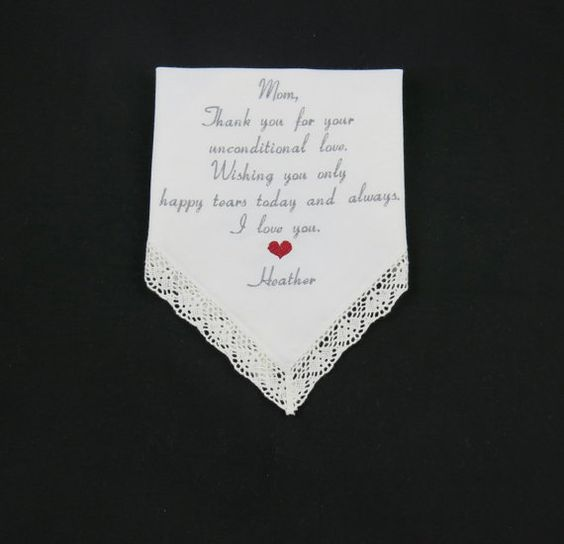 Embroidered WEDDING Handkerchiefs for MOTHER of by NapaEmbroidery