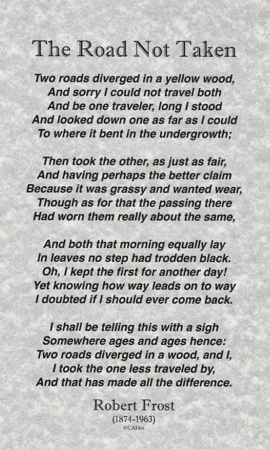 Poem The Road Not Taken Author Robert Frost Words Essay