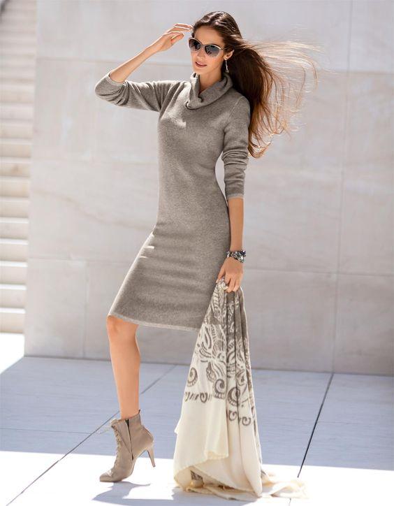 Strickcape in der Farbe taupe / wollweiß - elfenbein - weiß, taupe - im MADELEINE Mode Onlineshop
