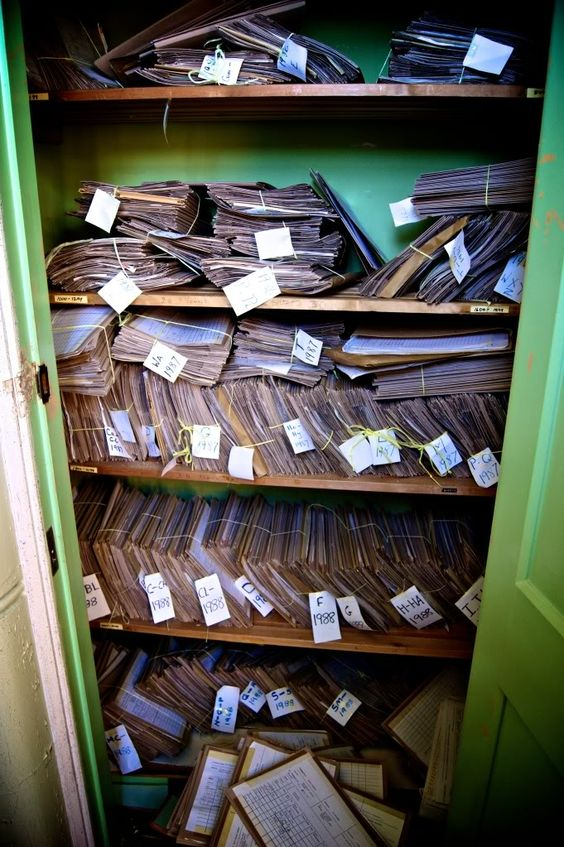 """A closet full of patient records left behind.The county of West Sussex provided its own asylum accommodation following the withdrawal from the union with East Sussex at the Haywards heath asylum in 1893. Graylingwell farm, former home of novelist Anna Sewell of """"Black Beauty"""" fame and located to the north of the county town, Chichester , was purchased for the purpose of providing a site for the new asylum. lGraylingwell Asylum - Sept 2011"""