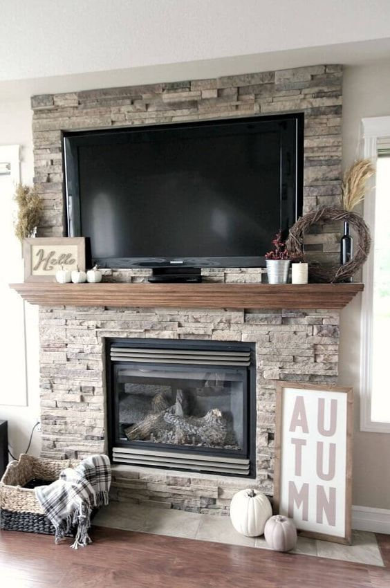 Bobs Furniture Tv Stand With Fireplace : furniture, stand, fireplace, Simple, Field, Stone, Fireplace, Mantle, Fireplace,, Inviting, Home,, Living