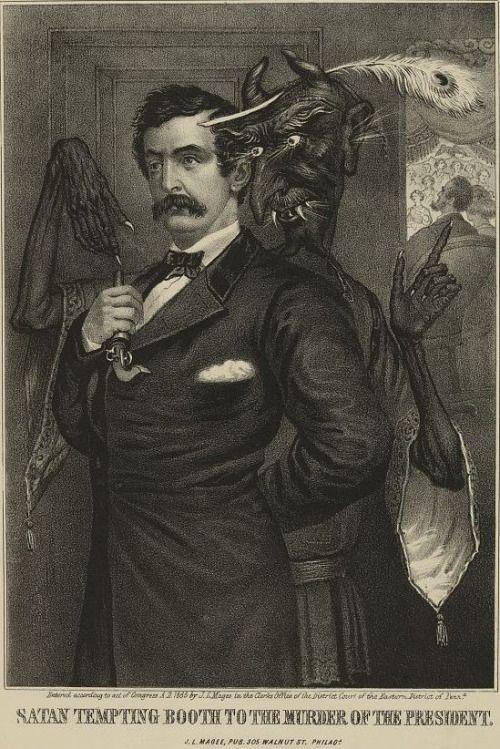 Satán tentando a John Wilkes Booth para matar a Lincoln. Litografía de John Magee, 1865.