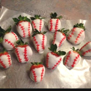 Baseball Dipped Strawberries ;) Yum!!!