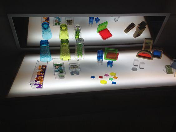 Light table transparency provocations for preschoolers.  Acorn School Richmond Hill, ON Canada  www.acornschool.ca