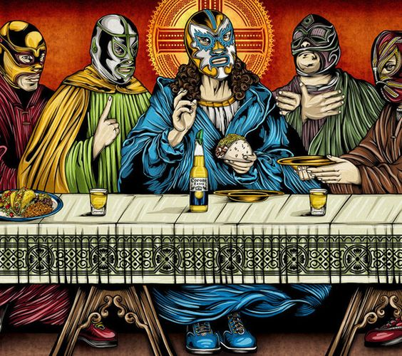 Jesus drinks Corona in this painting ofr The Last Fiesta http://pocho.com/jesus-christos-and-his-12-apostle-luchadores-the-last-fiesta/