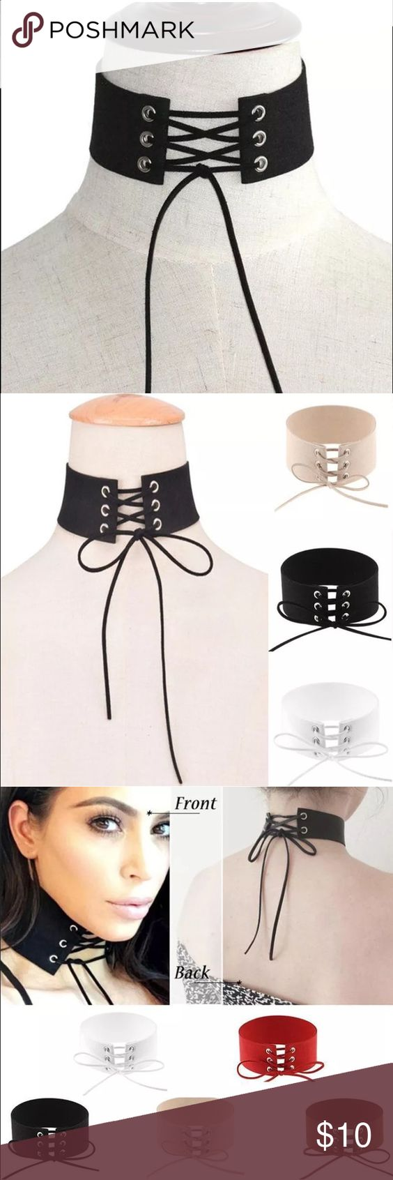💥 Lace Up Leather Choker Necklace 💥 Unique and extremely stylish new style of choker! Comes in a five color so please let me know what when you want! Hope you enjoy Jewelry Necklaces
