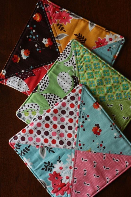 Quilted Potholders - easy use for scraps, especially batting: