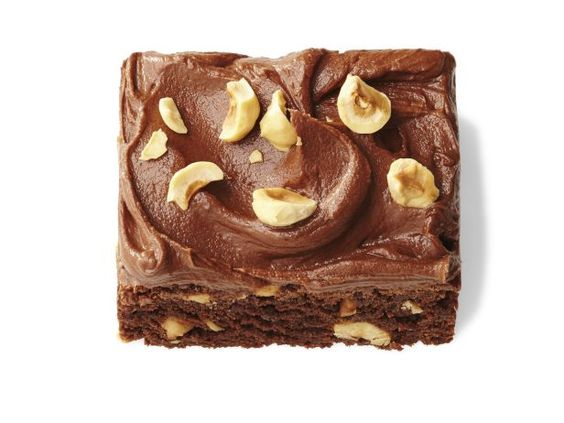 Chocolate-Hazelnut Brownies (No. 30) : Make Classic Brownies (No. 28); stir 3/4 cup crushed hazelnuts into the batter before baking. For the frosting, beat 1 cup chocolate-hazelnut spread with 1/2 stick softened butter and 2 tablespoons milk; spread over the cooled brownies. Top with hazelnuts.