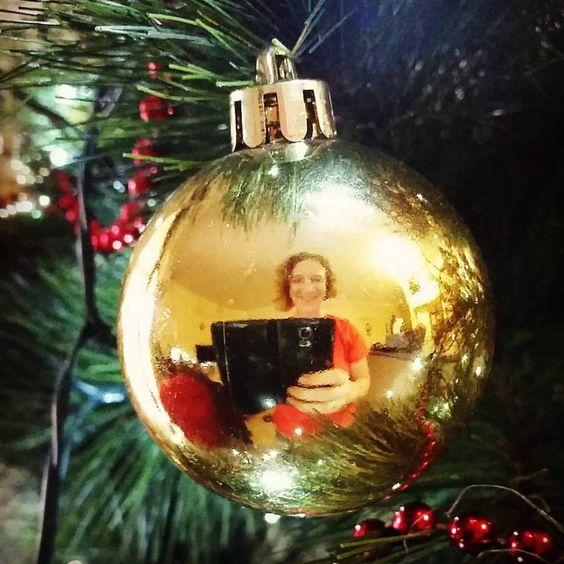 christmas bauble selfie