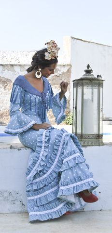 blue flamenco dress: