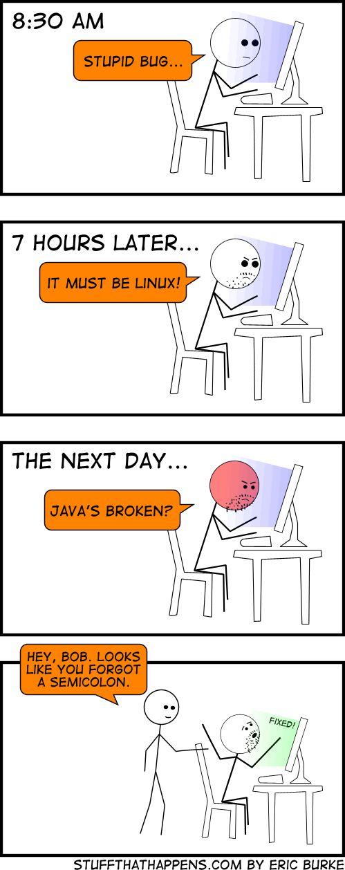 Ahhhh the semicolons! #developer humor