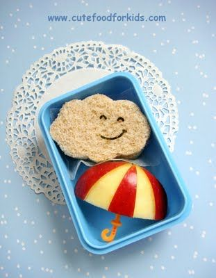So adorable! : Apple Umbrella, School Lunch, Food Idea, Healthy Snack, Lunchbox Idea, Kids Lunch