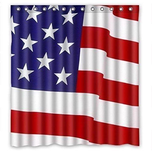 Americana Shower Curtain Set Patriotic Flag USA Print Waterproof Fabric Hooks