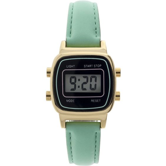 Womens Square Dial Green Strap Digital Watch ($30) ❤ liked on Polyvore featuring jewelry, watches, green digital watch, square face watches, digital wrist watch, digital wristwatch and buckle watches