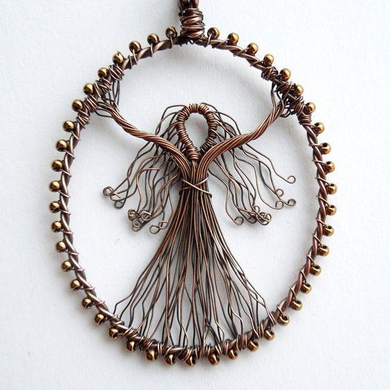 Custom wire goddess pendant unique design by Louise Goodchild