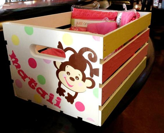 Personalized HandPainted Wooden Toy Crate