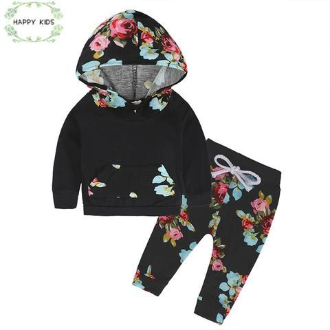 Infant Kid Baby Girl Floral Hooded Sweatshirt+Pants Leggings Outfits Clothes Set
